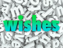 Wishes Hopes Dreams Word 3d Letters Wishing for Desires. Wishes word in 3d letters as hopes, dreams and desires to come true and fulfill your every want and need Stock Photo