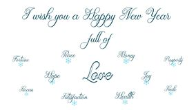 Happy New Year full of peace, health, money, fortune, happyness,smile and joy stock illustration
