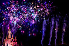 Wishes nighttime spectacular fireworks Royalty Free Stock Image