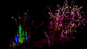 Wishes nighttime spectacular fireworks Royalty Free Stock Photos
