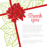 Wishes thank you with a rose and leaf. A letter of thanks Stock Photo