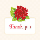 Wishes thank you with a rose and leaf. Royalty Free Stock Image