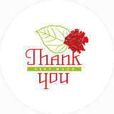 Wishes thank you with a rose and leaf. Vector illustration Royalty Free Stock Images