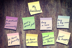 Wishes written on multicolored stickers Royalty Free Stock Photography