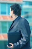 Wishful Businessman Blue Tint Stock Photo