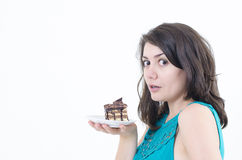Wishful Girl. A wishful girl holding a delicious cake Stock Photos