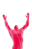Wishing. Digital illustration man arms up into the air Stock Photos