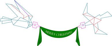 Wishing Birds. Stylised birds hang on in the air a green Christmas signage Royalty Free Stock Photo