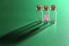 Wishing bottles and bear Royalty Free Stock Photography