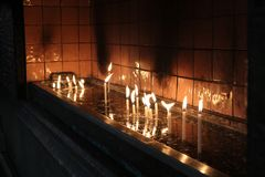 Candles of st antonia padua church stock image