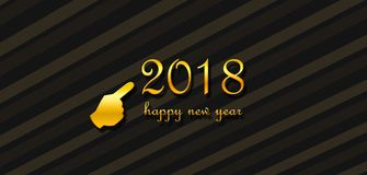 Wishing a happy new year 2018. Celebrating and wishing a happy new year. Clean design concept with golden letters over dark background Stock Photography