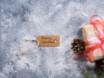 Wishing merry christmas background with gift. Box and snow Royalty Free Stock Images