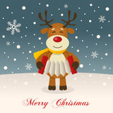 Wishing Merry Christmas with a Reindeer Royalty Free Stock Image