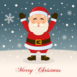 Wishing Merry Christmas with Santa Claus Royalty Free Stock Photos