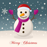 Wishing Merry Christmas with a Snowman Stock Images