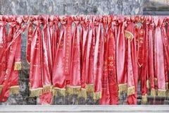 Wishing ribbons hanging at a Buhhist temple, Beijing, China Stock Photos