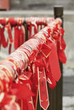 Wishing ribbons hanging at a Buhhist temple, Beijing, China Royalty Free Stock Images