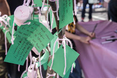Wishing Tree with Green Paper Wishes Stock Images