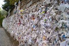 A wishing wall. Near the house of Virgin Mary in Turkey Royalty Free Stock Photos