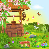 Wishing well in the spring. Vector illustration of wishing well in the spring season Royalty Free Stock Images