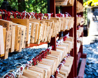 Wishing wood tags hanging in Japanese Shinto shrine Stock Photo