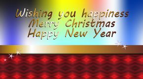 Wishing you happiness, Christmas image. Wishing you happiness, Merry Christmas and Happy New Year on golden and red background Royalty Free Stock Photography