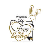 Wishing you a Happy Easter. Greeting inscription with the Easter Stock Images