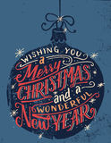 Wishing you a Merry Christmas hand lettering Royalty Free Stock Image