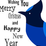 Wishing you Merry Christmas and Happy New Year card with Blue Jay. Flat design. Stock Photography