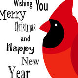 Wishing you Merry Christmas and Happy New Year card with Red cardinal. Flat design. Vector royalty free illustration