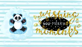 Wishing you merry moments Handwritten elegant modern brushes inscription gold Panda is lying in the playing snow angels. Vector. Wishing you merry moments Royalty Free Stock Photos