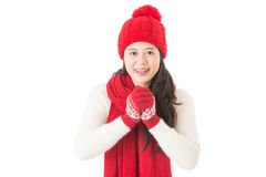Wishing you prosperity and wealth with smile face. Chinese new year hand gesture. mixed race asian chinese isolated on white background royalty free stock images