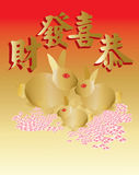 Wishing you a prosperous rabbit year. A greeting for Chinese Rabbit New Year 2011 stock illustration