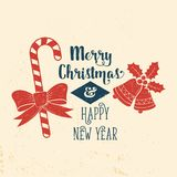 Wishing you very happy Xmas. Typography design. Royalty Free Stock Photography