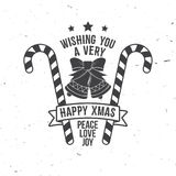 Wishing you very happy Xmas. Typography design. Royalty Free Stock Photos