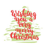 Wishing you a very merry Christmas - lettering holiday calligraphy phrase isolated on the sketch tree background. Fun Royalty Free Stock Photo