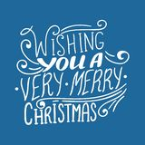 Wishing you a Very Merry Christmas quote, vector text for design greeting cards, photo overlays, prints, posters royalty free illustration