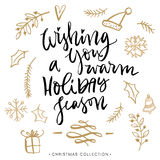 Wishing you a warm holiday season. Christmas greeting card. Stock Photography