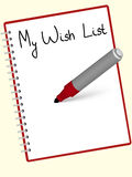 Wishlist. Wish  list written at the red notebook by marker Stock Images