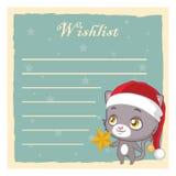Wishlist dla Święty Mikołaj z kotem Obraz Stock