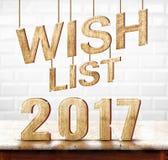 Wishlist 2017 houten textuur op marmeren lijst met wit ceramisch Ti Stock Foto