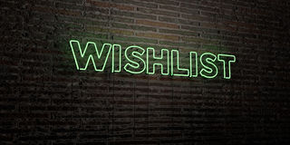 WISHLIST -Realistic Neon Sign on Brick Wall background - 3D rendered royalty free stock image Stock Images