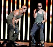Wisin Y Yandel Perform in Concert. Wisin L and Yandel R with the latin reggaeton group Wisin Y Yandel perform in concert at the American Airlines Arena in Miami royalty free stock image