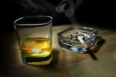 Wiskey and cigarettes Stock Image