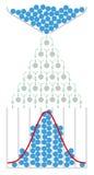 Wiskunde van de Galton-raad met normale distributie royalty-vrije illustratie