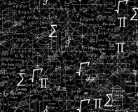 Wiskunde wetenschappelijk vector naadloos patroon met formules, cijfers, samen geschuifelde percelen vector illustratie