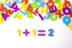 1+1=2 wiskundeformule Stock Afbeelding
