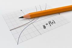 Wiskundefunctie en een potlood royalty-vrije stock foto's