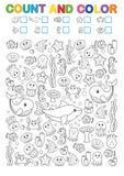 Wiskundeoefeningen voor de studie van aantallen Vind, tel en kleur Voor het drukken geschikt aantekenvel voor kleuterschool en ee vector illustratie