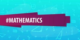 Wiskundeonderwerp Terug naar de Achtergrond van de School (EPS+JPG) Onderwijsbanner stock afbeelding